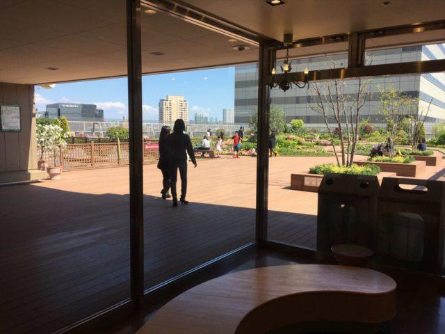 ビルの屋上のガラス張りの室内から見える屋外の庭園
