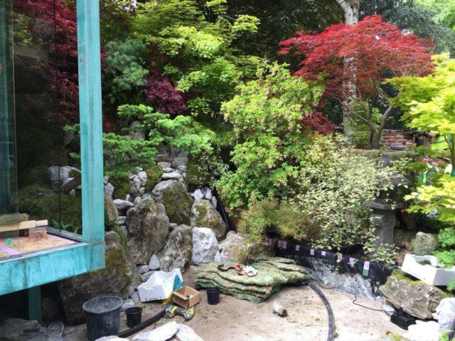 緑青と紅葉の庭の石組みでつくられた滝