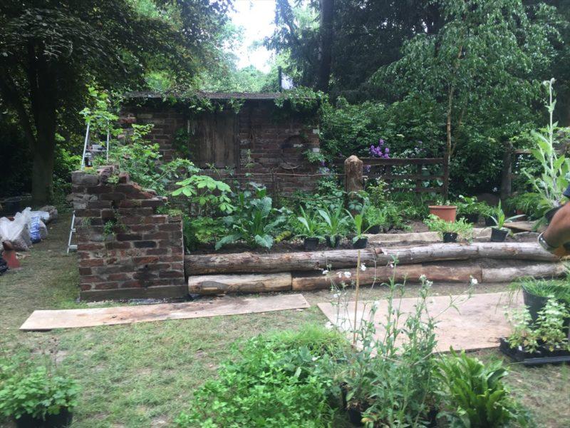 レンガの廃墟とカラックスの植栽の庭
