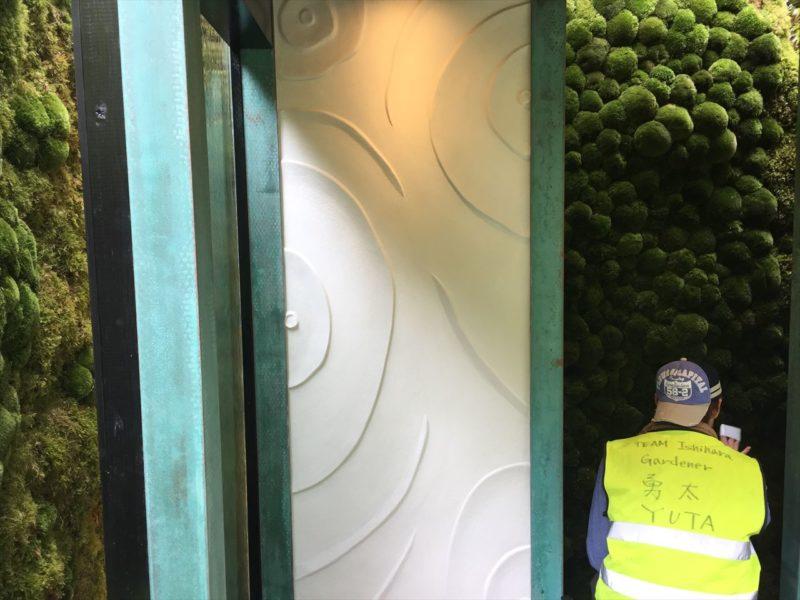 緑青の建物の左官の模様の壁
