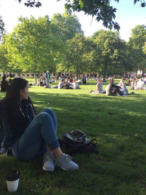 公園で寝転がる人々