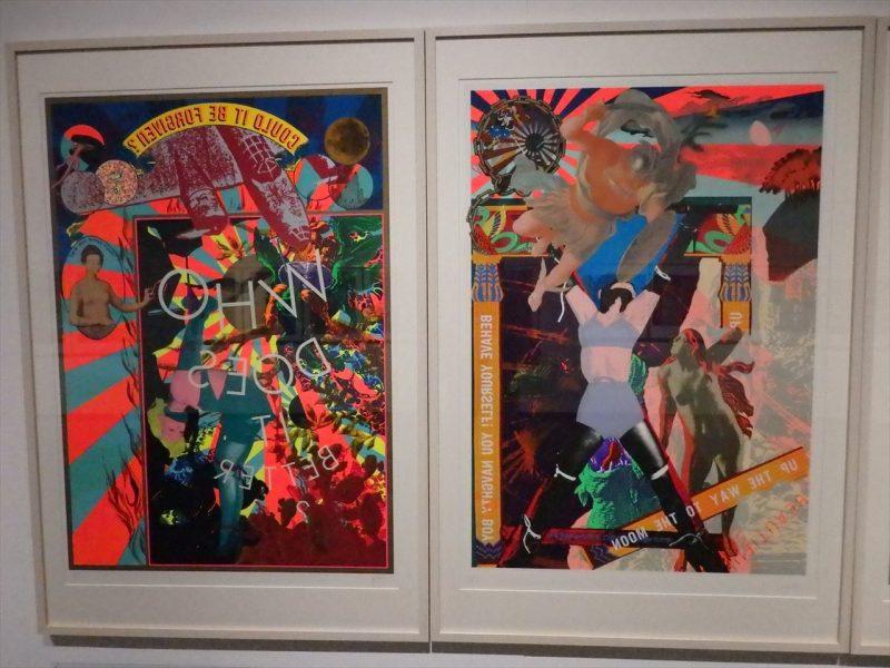 カラフルな色彩のさまざまな人物とモノがデザインされた二枚の版画