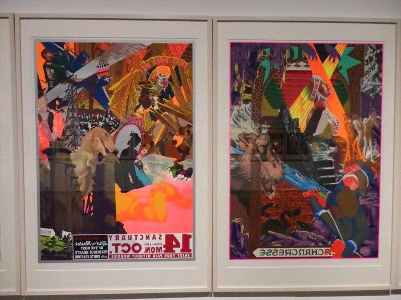 カラフルな色調でいろいろな人物、モノがデザインされた二枚の版画