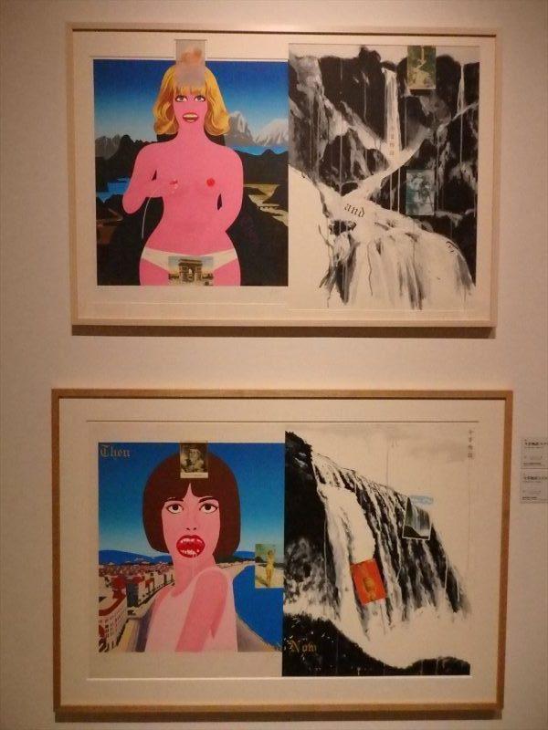 白い壁に展示されたポップな女性がデザインされた二枚の版画