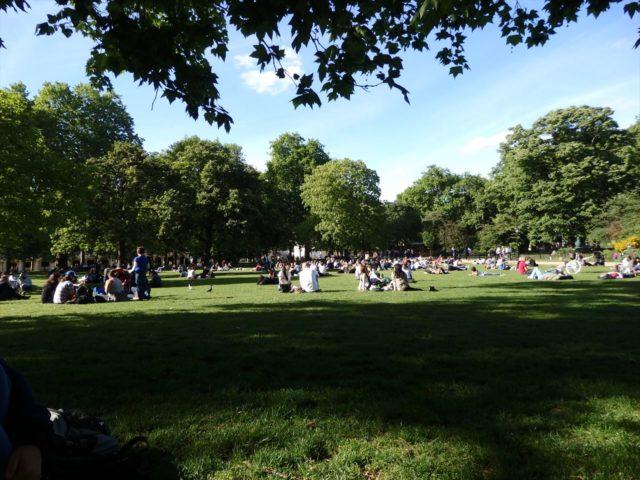 多くの人が寝転ぶ公園