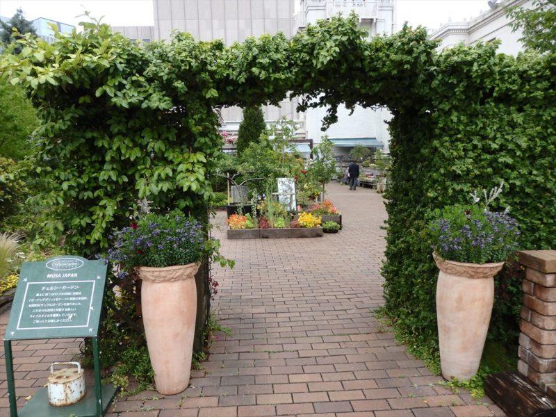 ヘデラの門がある園芸店の入り口