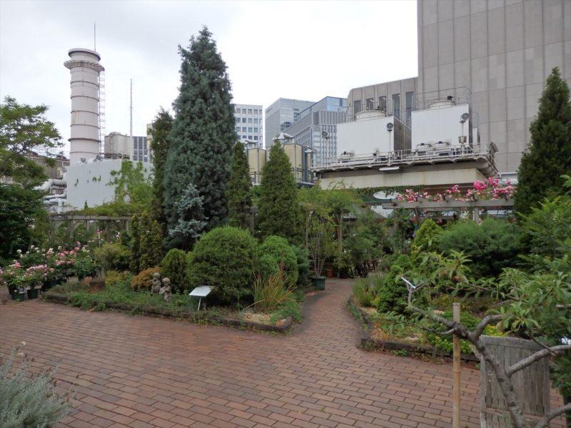 ビルの屋上にある園芸店
