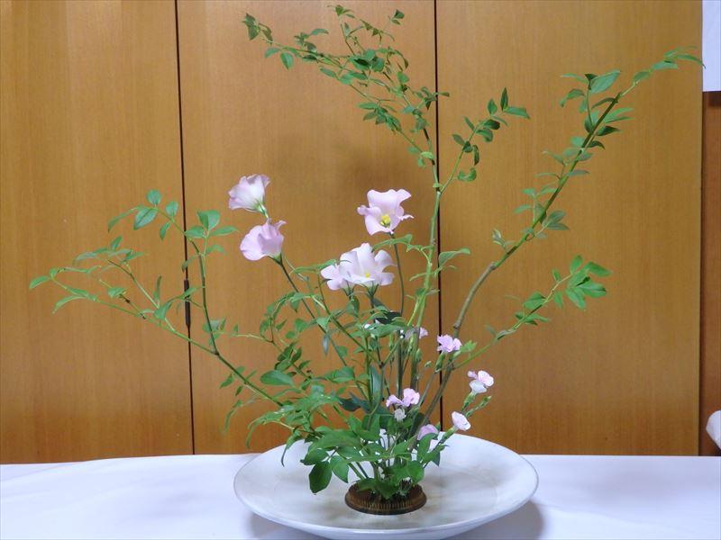 2種類のピンクの花でいけばな