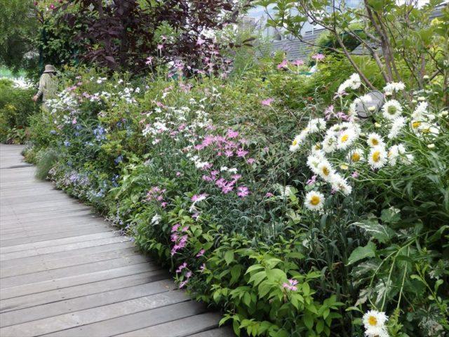 通路にも花が管理されている庭園