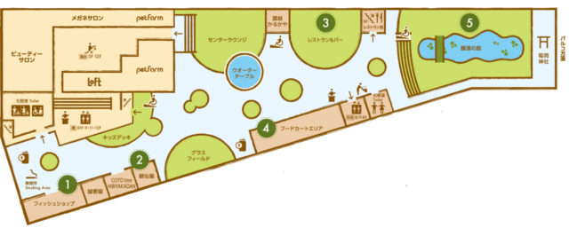 西武池袋本店屋上の空中庭園の案内図