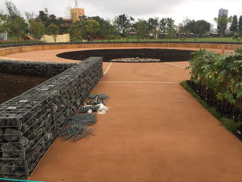 噴水が設置されそうな改修中の富士森公園