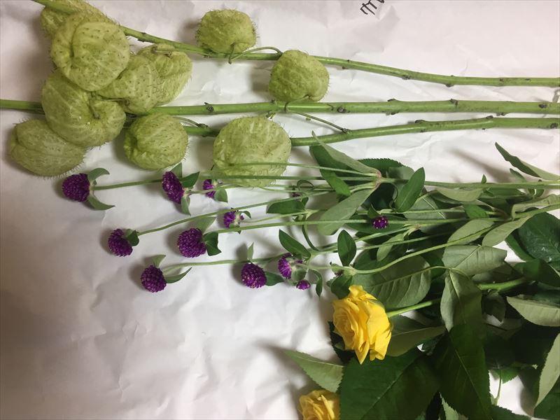 本日の自由花の花材