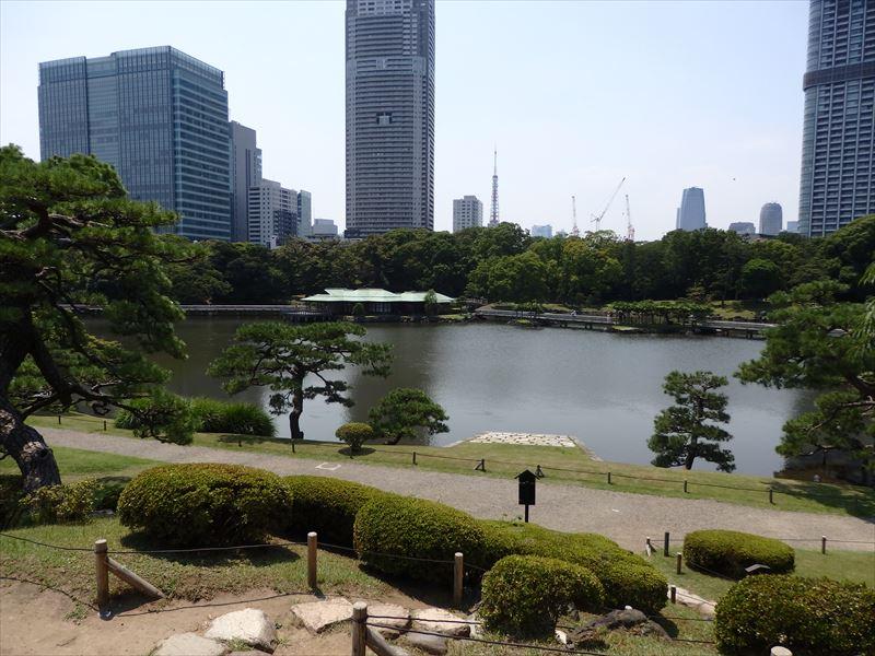 池が一望できる御亭山からの眺め