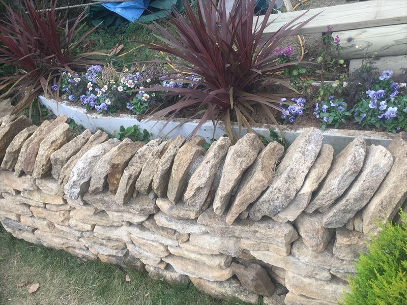 以前製作したイギリスのコッツウォルズ地方の石を使った花壇の植栽