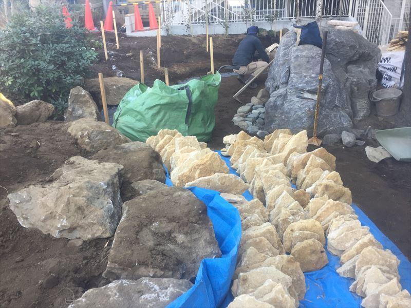 石積み前の準備段階