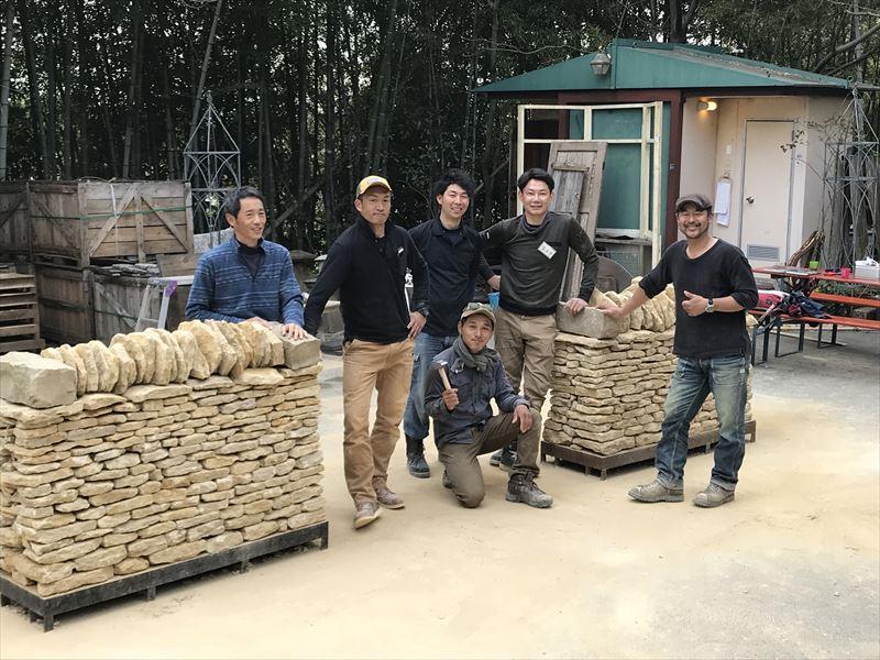 終了した欧州建材の石積み講習会