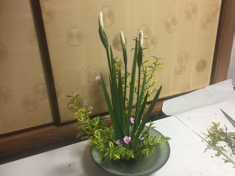 菖蒲やナデシコなど季節の花をつかった5月の池坊の自由花