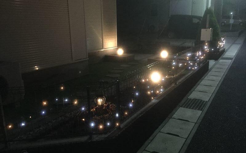 ガーデンライト設置したら11月なのに早くもクリスマスっぽくなった現場