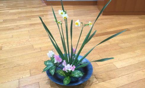 12月の花材の連続白札の池坊自由花