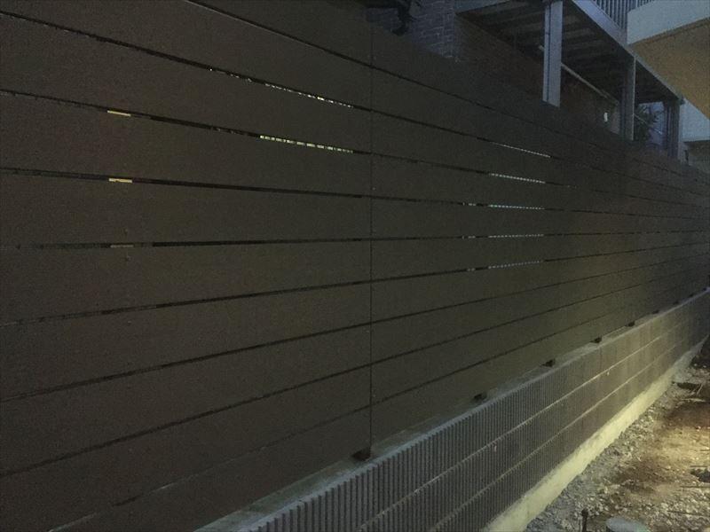 すっかり夜になって完成した東京都大田区のブロック&フェンス