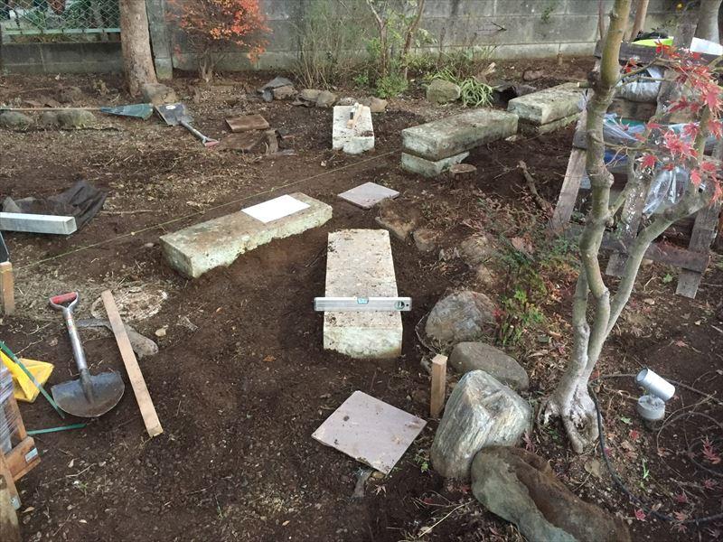 既存の大谷石を並べ替えて新たなお庭づくり