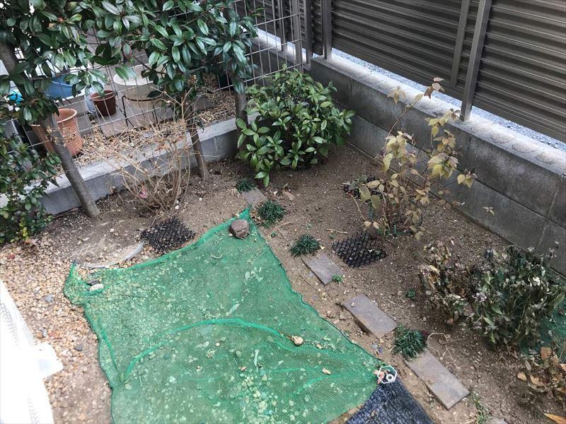 猫除けでいっぱいになったお庭
