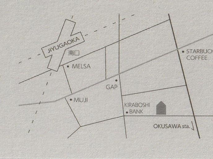 オープンカードに記載されている自由が丘の花屋ラテールの地図