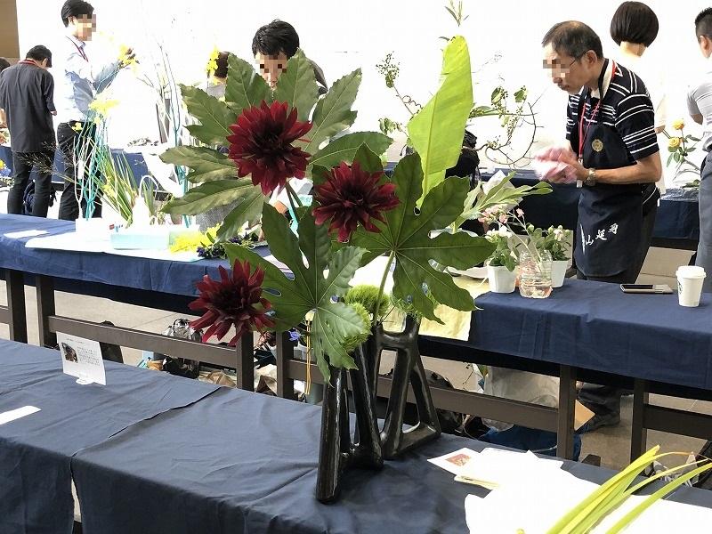 池坊東京会館で開催された2019年夏の男花展の生け花の作品