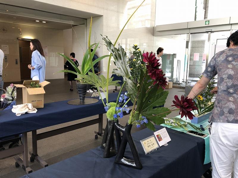 2019年夏の池坊男花展の生け花の作品