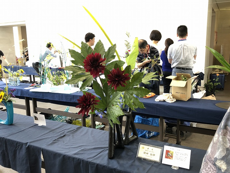 池坊東京会館で開催された2019年夏の男花展の作品