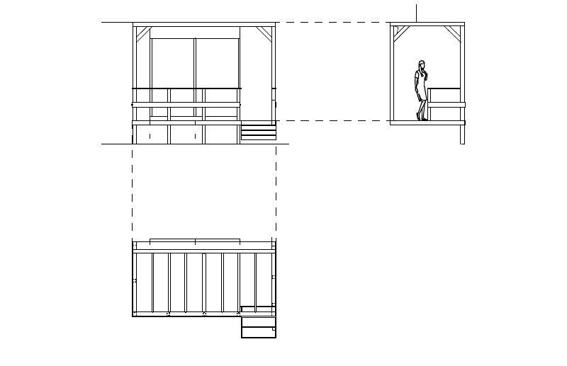 武蔵野市の個人邸のパーゴラ設計の図面