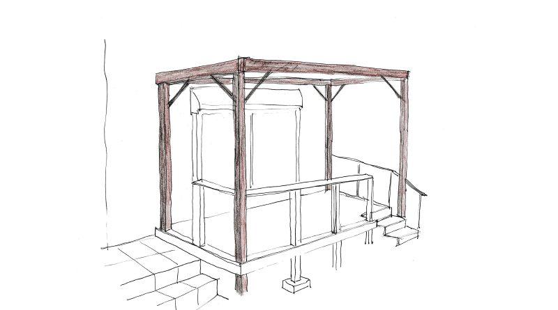 武蔵野市の個人邸のためのパーゴラのイメージ図