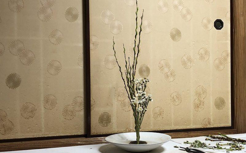 池坊目黒教室の花がたり主宰の先生が生けた池坊生花2種生け