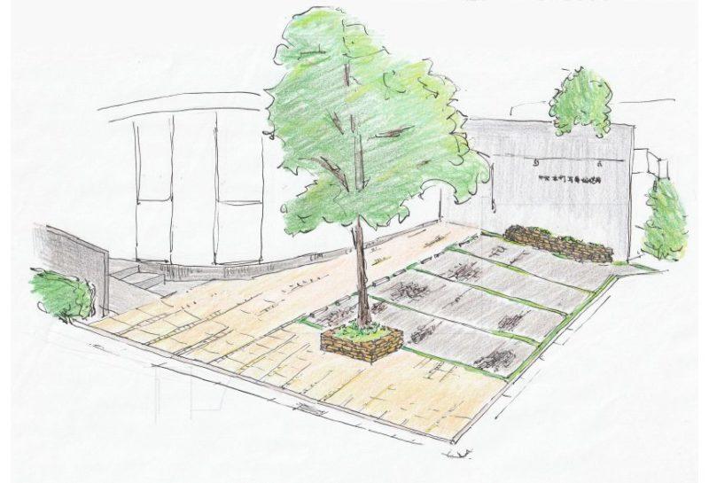 手描きで描かれた中央本町耳鼻咽喉科の駐車場改修工事のプランイメージ図