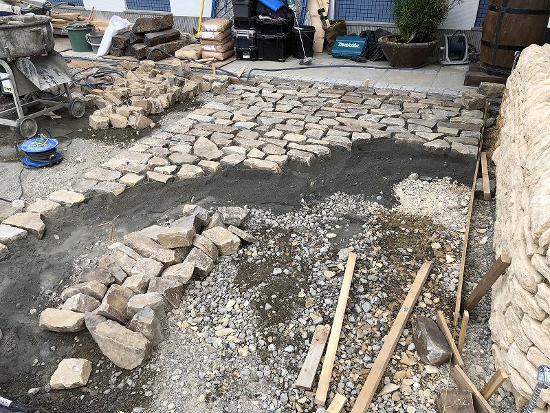 自然石を順番に並べて足立区の中央本町耳鼻咽喉科の現場で駐車場づくり