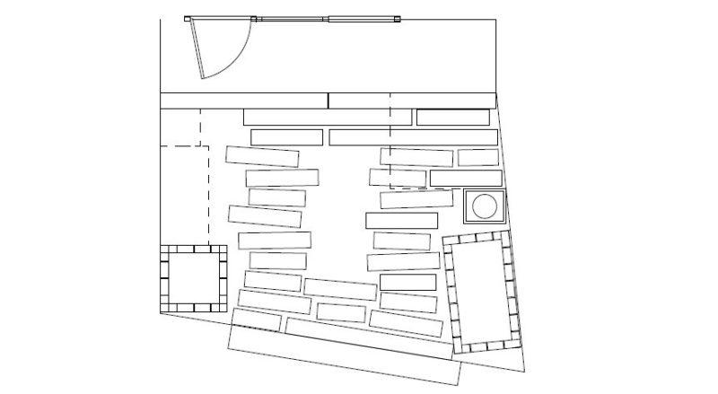枕木で駐車場をつくるプランのCAD図面