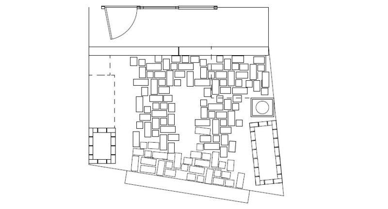 杉並区の個人邸の車が停められるナチュラルガーデンの図面