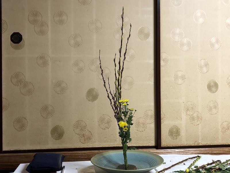 池坊目黒教室の先生の直しがはいった赤芽柳と小菊の生花2種生け
