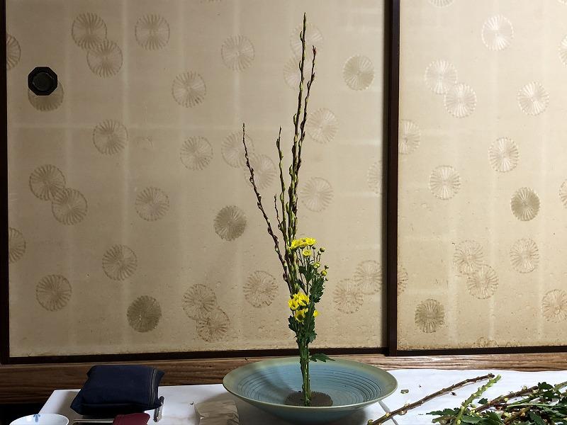 造園会社ぐりんぐりん横田が目黒教室で練習した2種生け