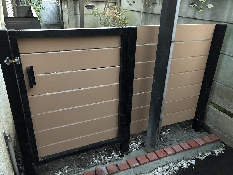 国分寺市で施工した樹脂の門扉とフェンス