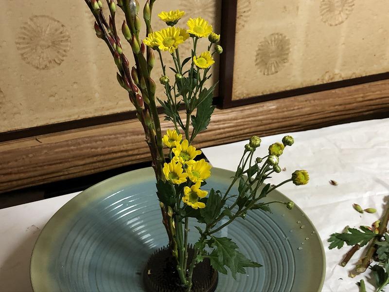 池坊目黒教室で造園会社ぐりんぐりん横田が生けた2種生けの小菊