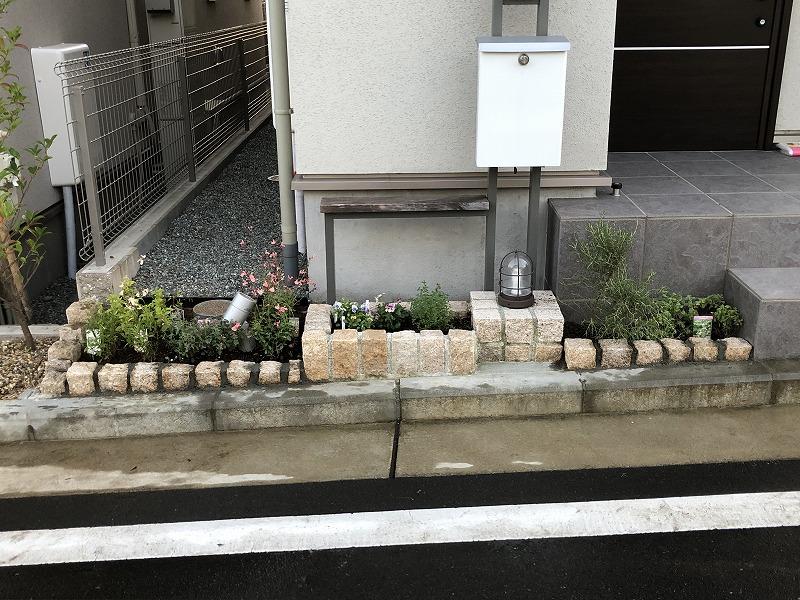 ピンコロを追加して植物を変更した花壇