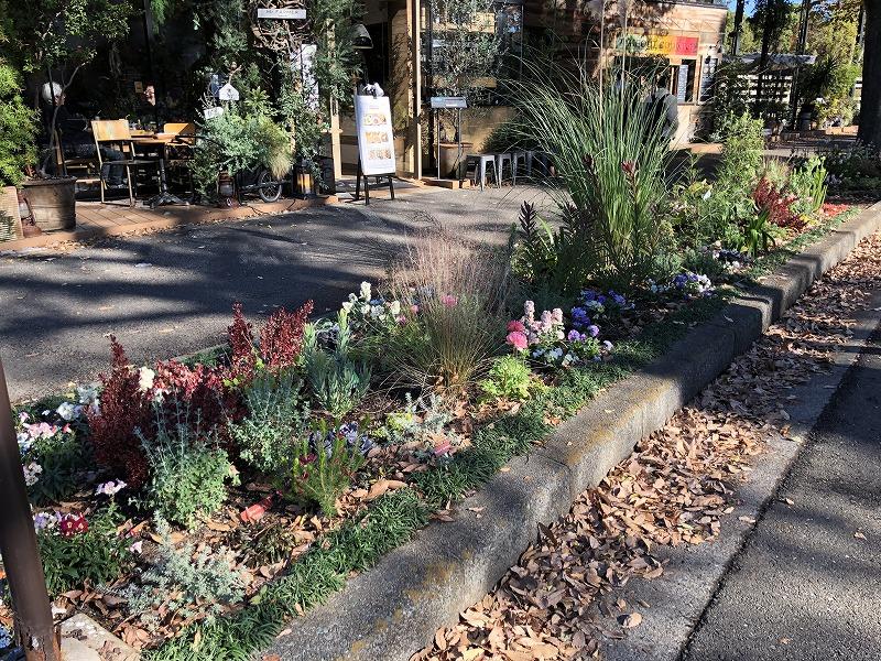 世田谷区と目黒区にまたがる有名公園で植栽した花壇