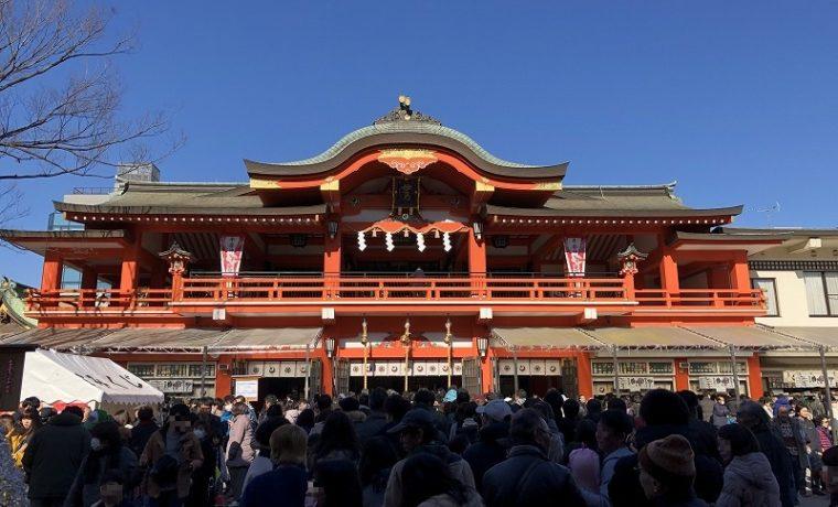 晴天が広がる2020年元旦の千葉神社の