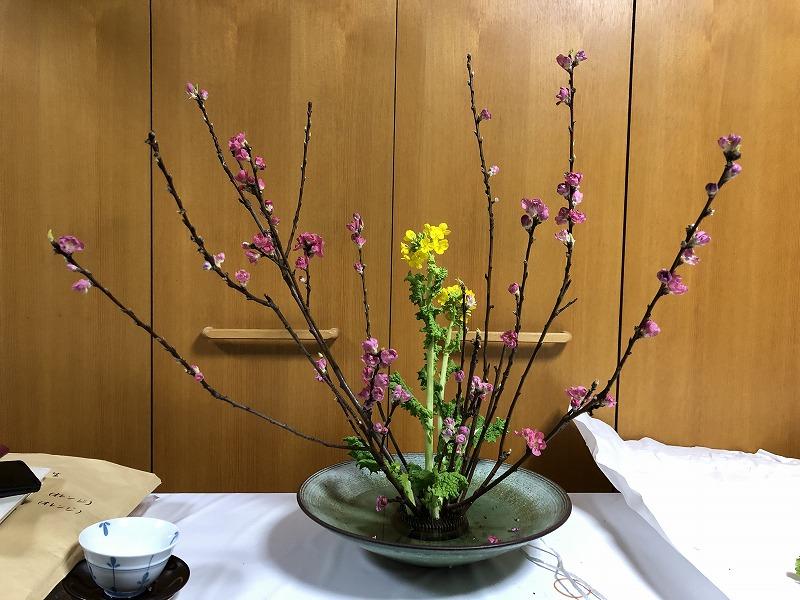 先生の直しが入った池坊の自由花