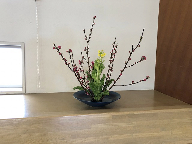 2020年最初の池坊東京支部の研究会の自由花