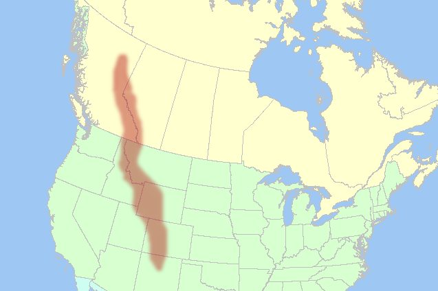 カナダからアメリカ中部まで広がったロッキー山脈の地図
