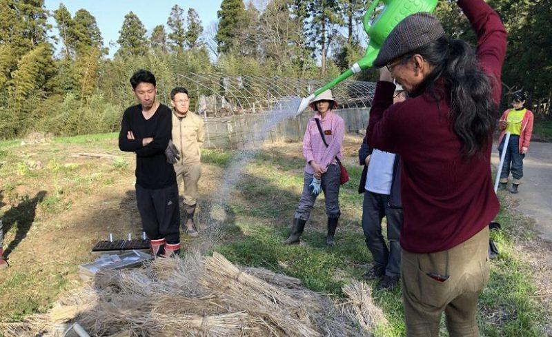 高い位置から水やりを行う岡本よりたか先生