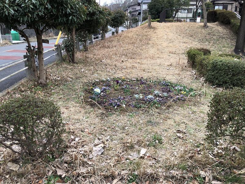 花壇がすでに存在する横浜市の公園