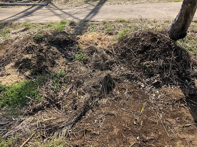 畑の片隅に作られた自家製のたい肥